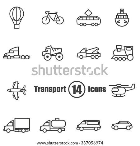 Transport set of 14 icons in a  flat style - stock vector