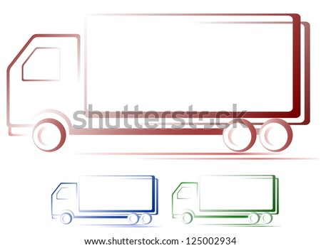transport set of shipping colorful moving truck images - stock vector