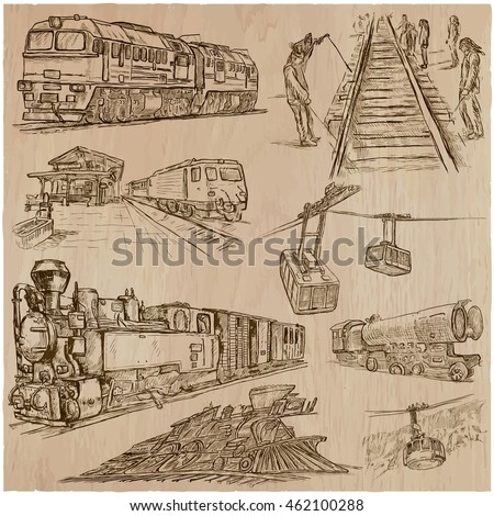 Transport set. Transportation by TRAIN and Cable car. Collection of an hand drawn vector illustrations.