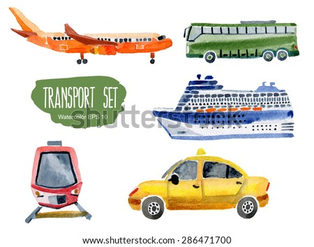 Transport set. Vector watercolor illustration. - stock vector