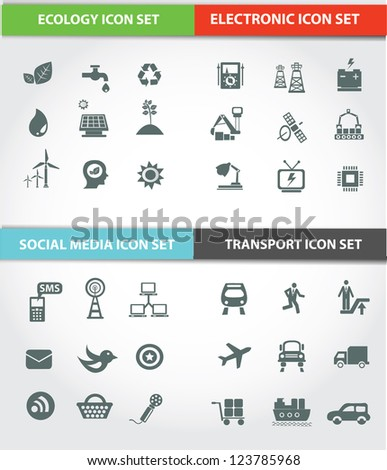 Transport,Social media,Energy & Ecology icons,Vector