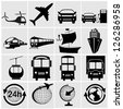 Transport, transportation - set of isolated vector icons. Black on white background. - stock photo