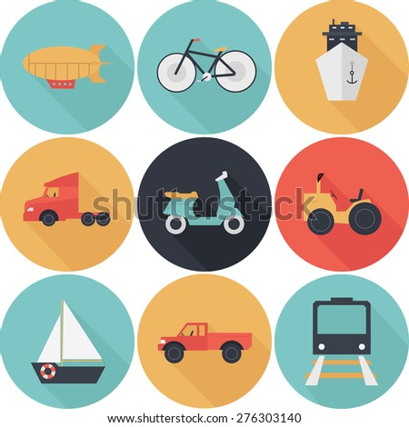 Transport, travel vector icons set flat design with long shadows - stock vector