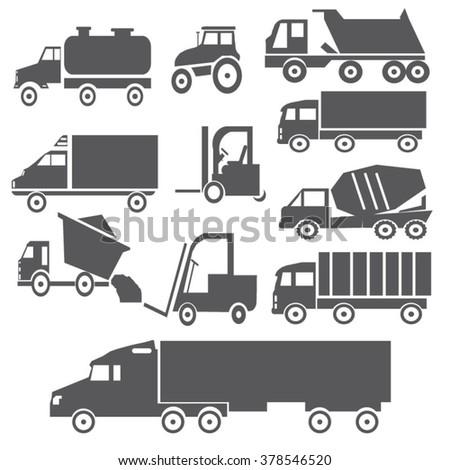 Transport truck set gray - stock vector