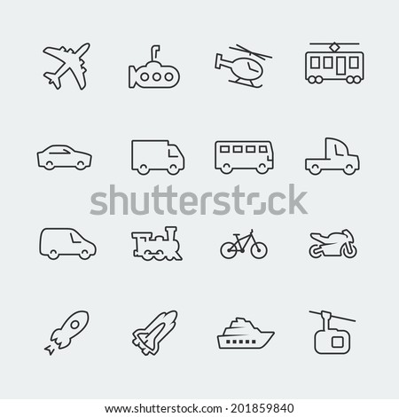 Transport vector icons set, thin line - stock vector