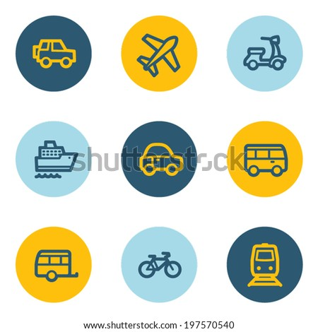 Transport web icons, blue and yellow circle buttons