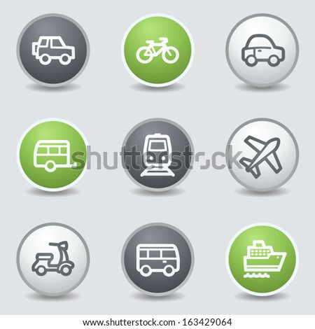 Transport web icons, circle buttons