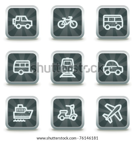 Transport web icons, grey square buttons