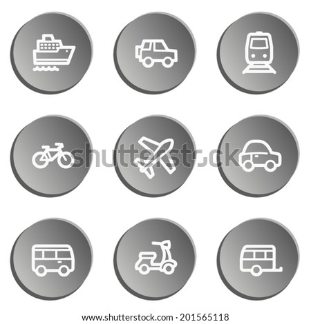 Transport web icons , grey stickers set