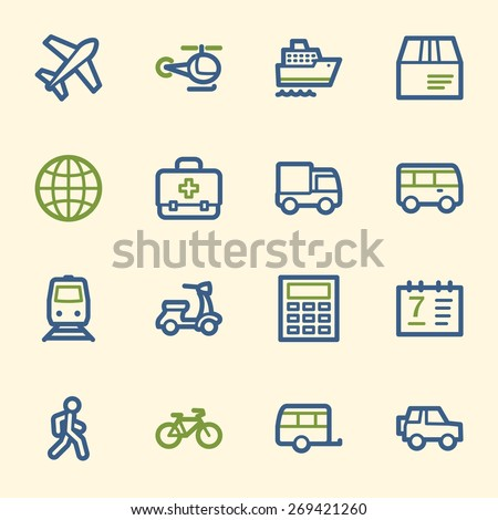 Transport web icons set - stock vector