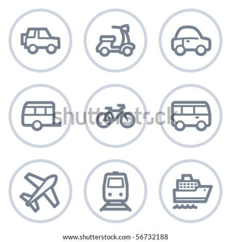 Transport  web icons, white circle series - stock vector
