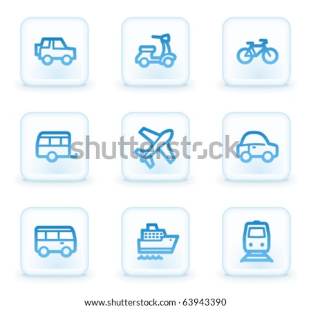 Transport web icons, white square buttons - stock vector