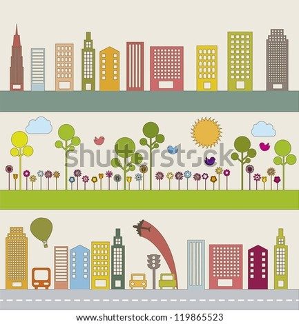 transport with buildings and nature. vector illustration