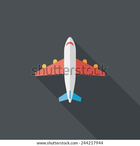 Transportation airplane flat icon with long shadow,eps10 - stock vector