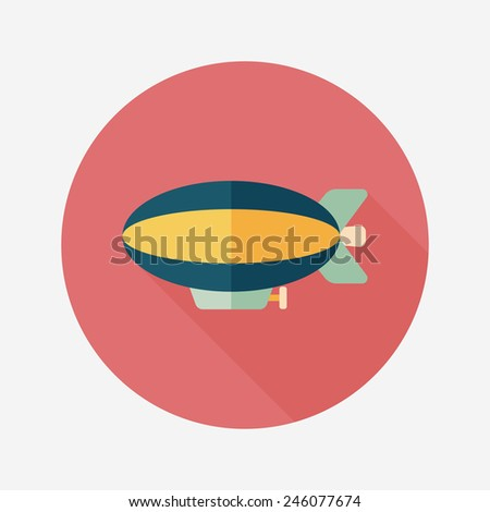 Transportation Airship flat icon with long shadow,eps10 - stock vector