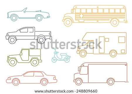 Transportation and Automotive Symbol Vector Set. Set of eight motor vehicle illustrations, modern line icon style. - stock vector