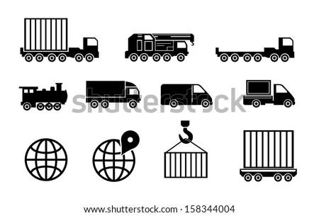 Transportation and cargo vector black big icon set - stock vector