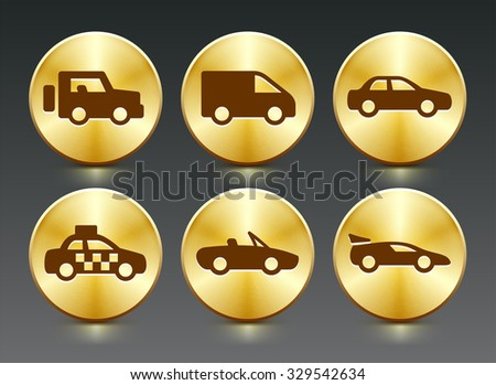 Transportation and cars on Gold Round Buttons