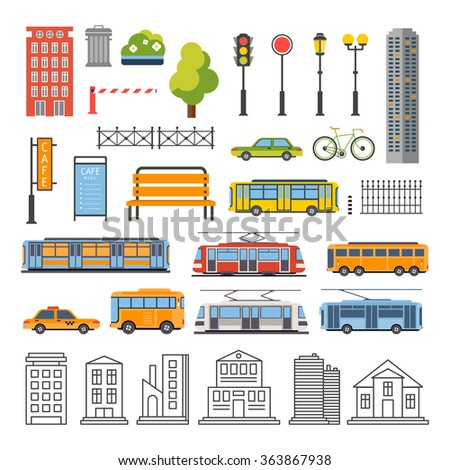 Transportation and City Traffic Infographics Elements. Vector Illustartion Set - stock vector