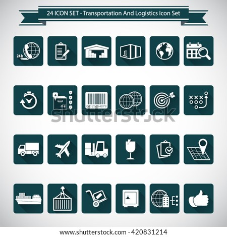 Transportation and logistics, editable vector icon set  for video, mobile apps, Web sites and print projects.EPS 10vector. - stock vector