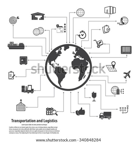 Transportation and logistics - Transportation and logistics infographic elements and editable vector icons for video, mobile apps, Web sites and print projects.EPS 10vector.  - stock vector