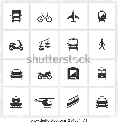 Transportation and vehicle vector icons. - stock vector