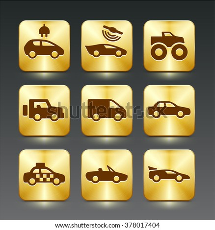 Transportation and Vehicles on Gold Square Buttons