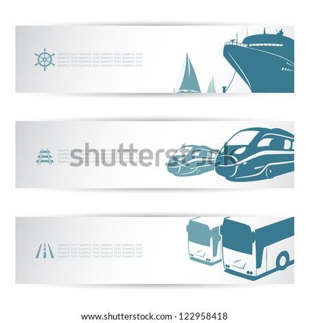Transportation banner set - isolated vector illustration - stock vector