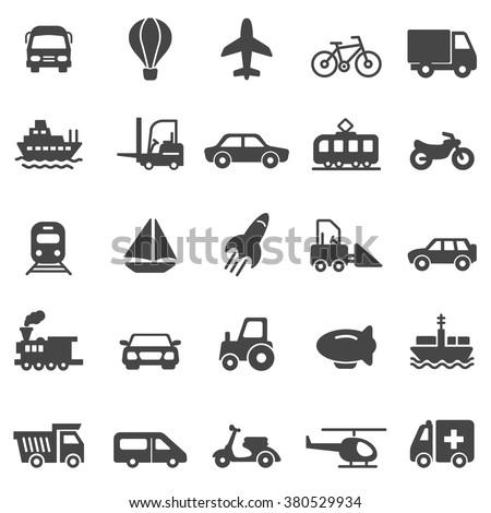 Transportation black icons set.Vector - stock vector