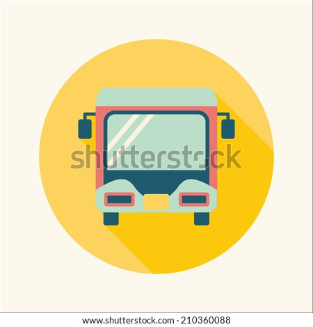 Transportation bus flat icon with long shadow - stock vector