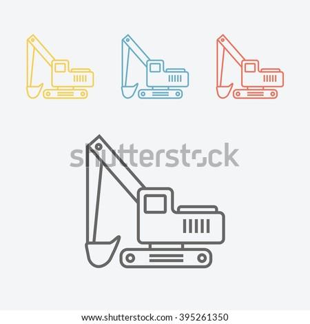 Transportation excavator line icon - stock vector