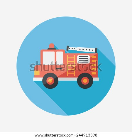 Transportation Fire truck flat icon with long shadow,eps10 - stock vector