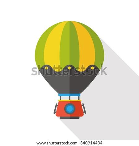 Transportation flat hot air balloon icon - stock vector