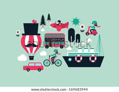 transportation flat vector/illustration - stock vector