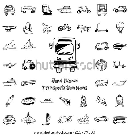 Transportation hand drawn icon - stock vector