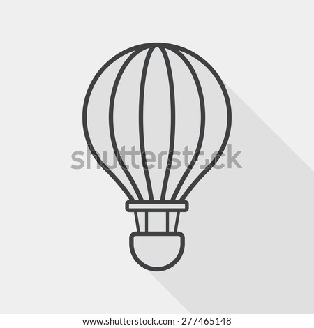 Transportation hot air ballon flat icon with long shadow, line icon - stock vector