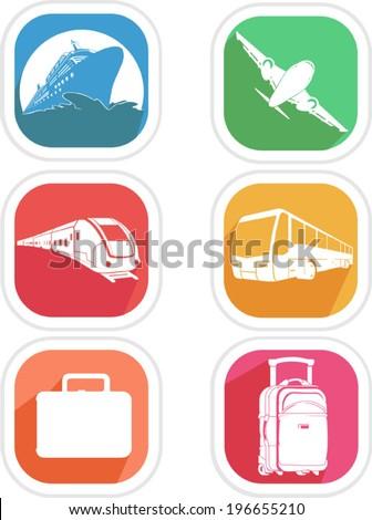 Transportation Icon - Airplane, Cruise Ship, Train, Bus - stock vector