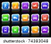 Transportation Icon on Square Button with Metallic Rim Collection Original Illustration - stock photo