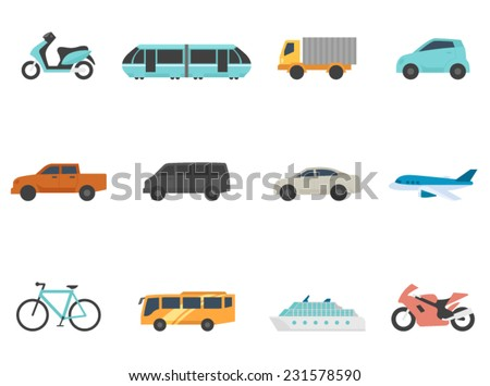 Transportation icon series in flat colors style - stock vector