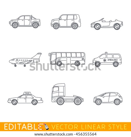 Transportation icon set include Ambulance Semi truck Taxi Business jet Pickup Crossover Bus Minivan and Cabriolet. Editable vector graphic in linear style. - stock vector