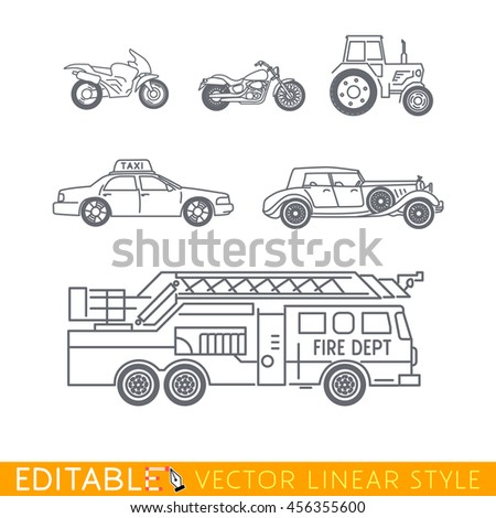 Transportation icon set include Fire truck Old luxury car Taxi Tractor Cruiser motorbike and Sport motorcycle. Editable vector graphic in linear style. - stock vector