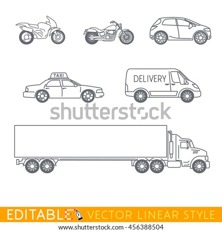 Transportation icon set include Long Semi Truck, City delivery van, Taxi, Crossover, Chopper and Street motorcycle. Editable vector graphic in linear style. - stock vector