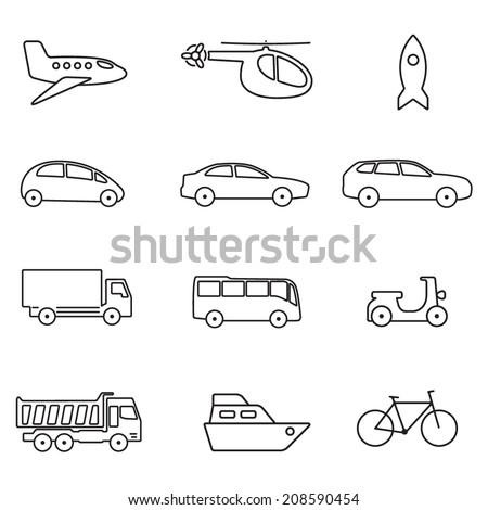 Transportation icon set. Vector outline illustration: car, airplane, bike, ship  bus, helicopter. - stock vector