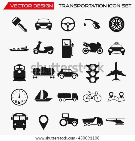Transportation icon set, vector transport symbols - stock vector