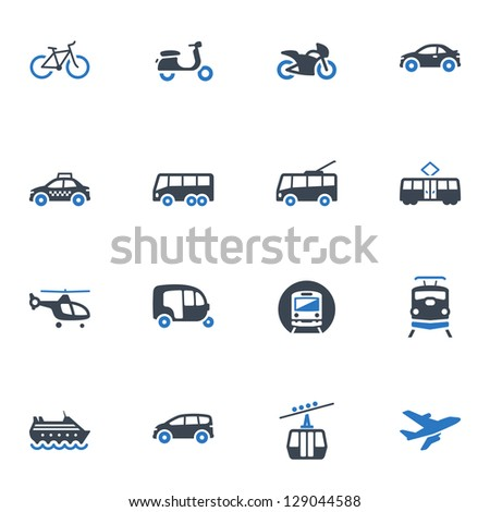 Transportation Icons - Blue Series - stock vector