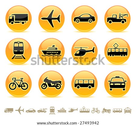 Transportation icons buttons vector set
