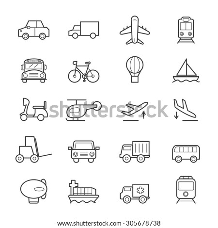 Transportation Icons Line - stock vector