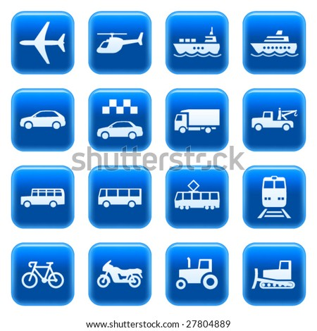 Transportation icons on blue square web buttons. Vector set 3. Car, plane, helicopter, ship, boat, train, tow truck, tram, school bus, bike, motorcycle, taxi, tractor, bulldozer, vehicle symbols