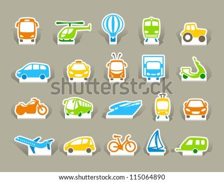 Transportation Icons on stickers - stock vector