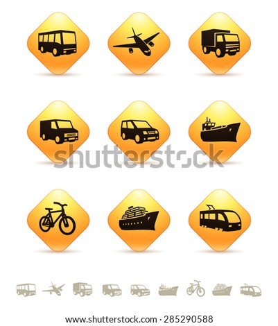 Transportation icons on yellow rhombic buttons - stock vector